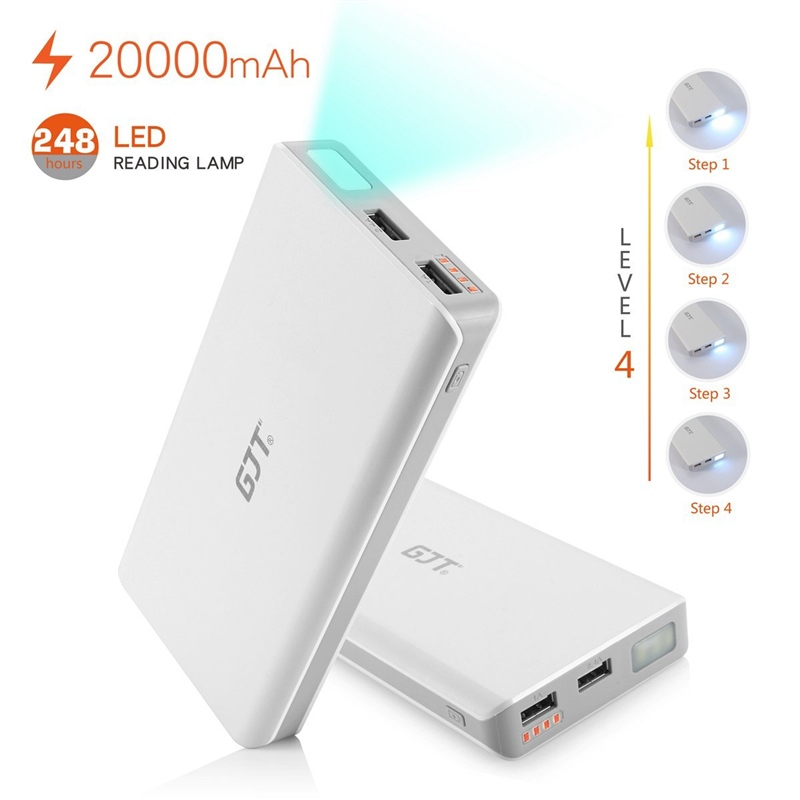 Gjt 20000mah Power Bank 4 Led Light Backup External Battery